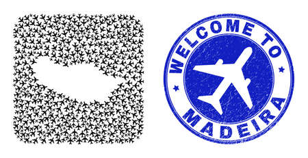 Vector collage Madeira map of airport elements and grunge Welcome stamp. Collage geographic Madeira map constructed as stencil from rounded square shape with air planes.