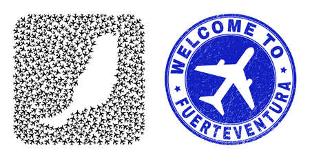 Vector mosaic Fuerteventura Island map of airways elements and grunge Welcome badge. Mosaic geographic Fuerteventura Island map constructed as carved shape from rounded square shape with aeroplanes.