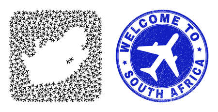 Vector collage South African Republic map of air plane elements and grunge Welcome seal stamp. Collage geographic South African Republic map created as stencil from rounded square shape with airports. Vector Illustration