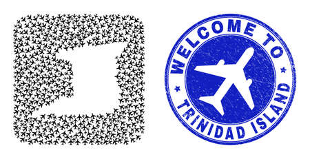 Vector collage Trinidad Island map of trip items and grunge Welcome seal stamp. Mosaic geographic Trinidad Island map created as carved shape from rounded square shape with airplanes.
