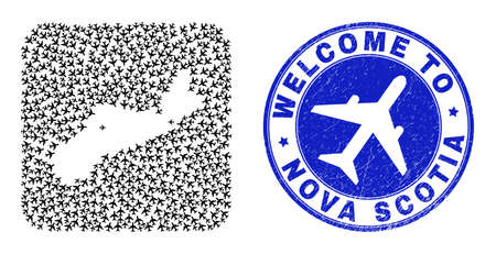 Vector collage Nova Scotia Province map of trip items and grunge Welcome seal stamp. Collage geographic Nova Scotia Province map constructed as carved shape from rounded square with aeroplanes.
