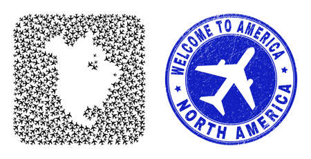 Vector collage North America v2 map of aero elements and grunge Welcome seal stamp. Collage geographic North America v2 map created as carved shape from rounded square shape using airliners.