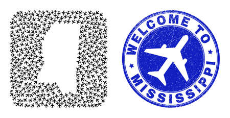 Vector collage Mississippi State map of air plane elements and grunge Welcome badge. Collage geographic Mississippi State map constructed as carved shape from rounded square shape with airways. 向量圖像