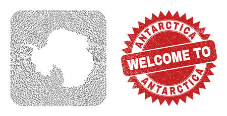 Vector mosaic Antarctica continent map of direction arrows and rubber Welcome badge. Collage geographic Antarctica continent map created as carved shape from rounded square shape with pointer arrows.