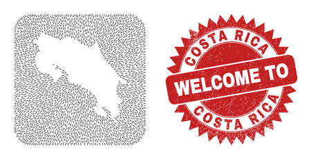 Vector collage Costa Rica map of direction arrows and scratched Welcome seal stamp. Collage geographic Costa Rica map designed as carved shape from rounded square shape with straight arrows.