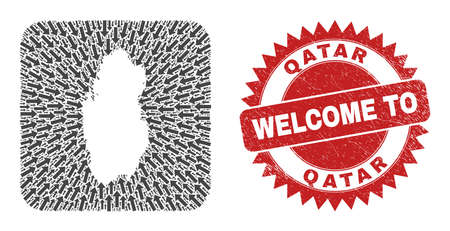 Vector collage Qatar map of moving arrows and scratched Welcome seal stamp. Collage geographic Qatar map designed as carved shape from rounded square shape with delivery arrows.