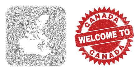 Vector mosaic Canada v2 map of migration arrows and scratched Welcome badge. Mosaic geographic Canada v2 map created as carved shape from rounded square shape with delivery arrows. Ilustração