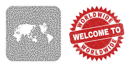 Vector collage worldwide map of pointer arrows and rubber Welcome seal. Collage geographic worldwide map created as carved shape from rounded square shape with navigation arrows.