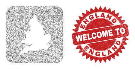 Vector collage England map of pointer arrows and rubber Welcome badge. Collage geographic England map constructed as carved shape from rounded square shape with moving arrows.