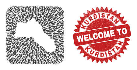 Vector collage Kurdistan map of navigation arrows and scratched Welcome seal stamp. Collage geographic Kurdistan map created as carved shape from rounded square shape with motion arrows.