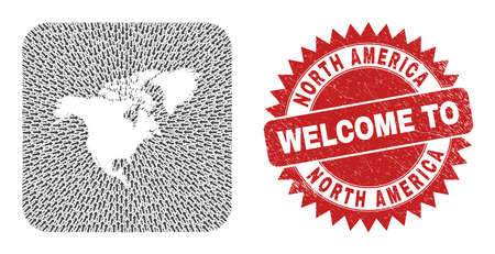 Vector collage North America map of movement arrows and rubber Welcome badge. Collage geographic North America map created as subtraction from rounded square with arrows.