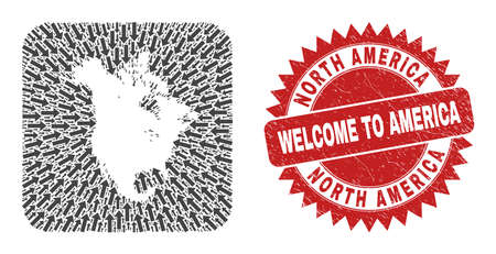 Vector collage North America v2 map of straight arrows and rubber Welcome badge. Mosaic geographic North America v2 map created as stencil from rounded square shape with moving arrows.
