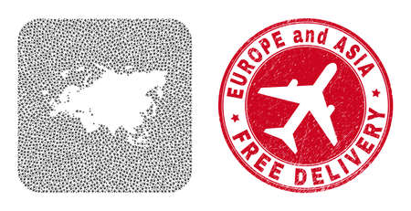 Vector mosaic Europe and Asia map of aviation elements and grunge Free Delivery stamp.