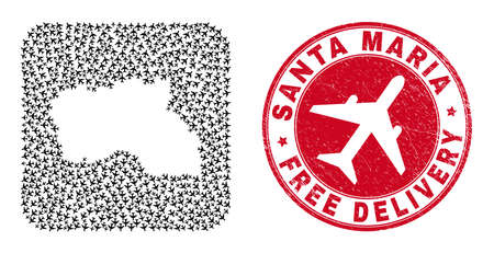 Vector mosaic Santa Maria Island map of airplane elements and grunge Free Delivery stamp.