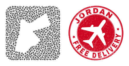 Vector mosaic Jordan map of air force items and grunge Free Delivery seal stamp. Mosaic geographic Jordan map created as subtraction from rounded square shape using coming out aviation items.