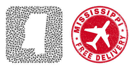 Vector collage Mississippi State map of air force elements and grunge Free Delivery seal stamp.