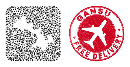 Vector mosaic Gansu Province map of aviation elements and grunge Free Delivery seal stamp.