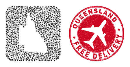 Vector mosaic Australian Queensland map of air plane items and grunge Free Delivery seal.