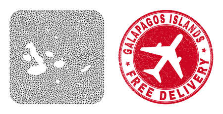 Vector mosaic Galapagos Islands map of aviation items and grunge Free Delivery seal stamp.