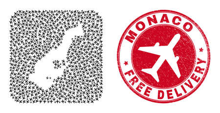 Vector mosaic Monaco map of airliner items and grunge Free Delivery stamp. Mosaic geographic Monaco map designed as hole from rounded square with flying away air planes.