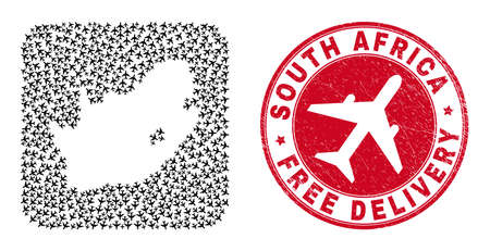 Vector mosaic South African Republic map of airliner items and grunge Free Delivery badge. Vector Illustration
