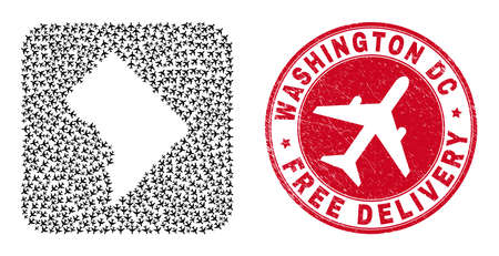 Vector collage Washington District Columbia map of airliner items and grunge Free Delivery seal stamp.