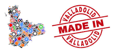 Production mosaic Valladolid Province map and MADE IN grunge stamp. Valladolid Province map mosaic created from wrenches, gear wheels, tools,, keys, transports, power strikes, details. Иллюстрация