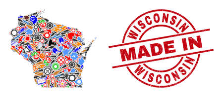Service Wisconsin State map mosaic and MADE IN grunge rubber stamp. Wisconsin State map collage composed with spanners, gear wheels, screwdrivers,, keys, airplanes, cars, strikes, details.