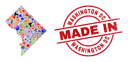 Technical Washington District Columbia map mosaic and MADE IN scratched stamp. Washington District Columbia map collage designed with wrenches, gearwheels, instruments, elements, cars,