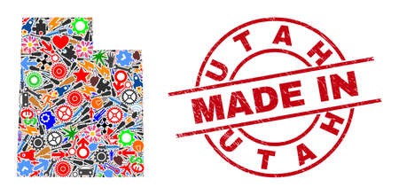 Industrial mosaic Utah State map and MADE IN distress rubber stamp. Utah State map collage composed with spanners, gear wheels, screwdrivers, items, cars, electricity bolts, helmets.