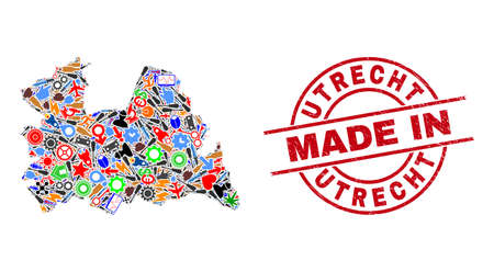 Industrial mosaic Utrecht Province map and MADE IN distress stamp seal. Utrecht Province map mosaic created from wrenches, cogs, instruments,, keys, vehicles, power bolts, rockets. Иллюстрация