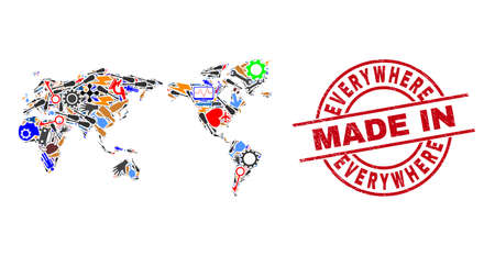 Technical mosaic world map and MADE IN scratched rubber stamp. World map composition formed with spanners, wheels, screwdrivers, aircrafts, transports, power strikes, helmets. Иллюстрация