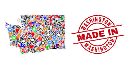 Development mosaic Washington State map and MADE IN distress stamp. Washington State map abstraction formed with spanners, gearwheels, instruments, items, vehicles, electricity sparks, rockets.