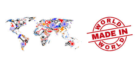 Technical world map mosaic and MADE IN scratched rubber stamp. World map abstraction created from wrenches, gearwheels, instruments, aircrafts, transports, power bolts, helmets. Иллюстрация