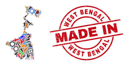 Science mosaic West Bengal State map and MADE IN scratched rubber stamp. West Bengal State map composition designed from wrenches, gear wheels, screwdrivers, aircrafts, transports, Иллюстрация