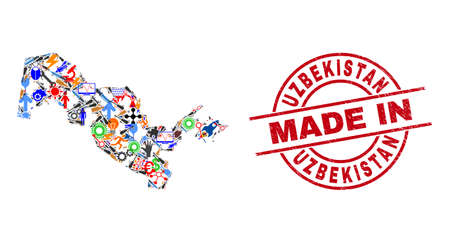 Engineering mosaic Uzbekistan map and MADE IN distress rubber stamp. Uzbekistan map collage designed with spanners, gearwheels, tools, aircrafts, vehicles, power sparks, helmets. Иллюстрация