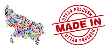 Development Uttar Pradesh State map mosaic and MADE IN grunge rubber stamp. Uttar Pradesh State map mosaic designed with spanners, gearwheels, screwdrivers, items, transports, electricity strikes,