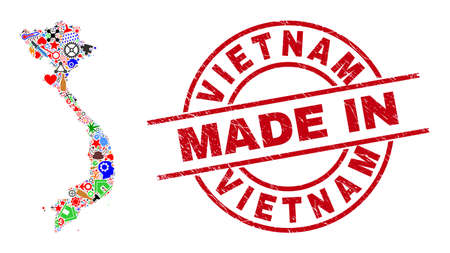 Production mosaic Vietnam map and MADE IN grunge rubber stamp. Vietnam map mosaic composed from spanners, cogs, screwdrivers, air planes, cars, power sparks, rockets. Ilustracja
