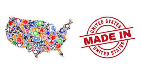 Science United States map mosaic and MADE IN grunge stamp seal. United States map mosaic formed from wrenches, cogs, tools,, keys, airplanes, power sparks, helmets.
