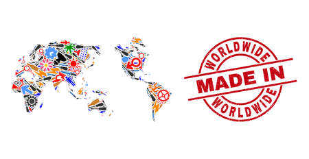 Service worldwide map mosaic and MADE IN scratched stamp. Worldwide map composition designed with wrenches, gearwheels, screwdrivers, items, vehicles, electric sparks, details.