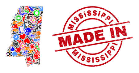 Service Mississippi State map mosaic and MADE IN scratched stamp seal. Mississippi State map mosaic designed with spanners, cogs, tools,, keys, airplanes, power strikes, helmets. 向量圖像