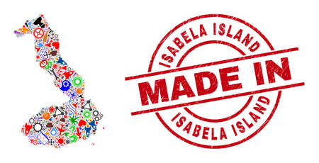 Technical Isabela Island of Galapagos map mosaic and MADE IN distress rubber stamp. Isabela Island of Galapagos map abstraction composed from spanners, cogs, instruments, air planes, transports,