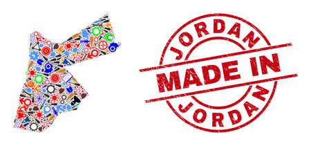Technical mosaic Jordan map and MADE IN distress rubber stamp. Jordan map mosaic composed from wrenches, gear wheels, instruments, elements, transports, electric bolts, helmets.