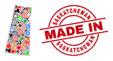 Education Saskatchewan Province map mosaic and MADE IN distress seal. Saskatchewan Province map abstraction designed with wrenches, gearwheels, tools, elements, transports, power sparks, helmets.