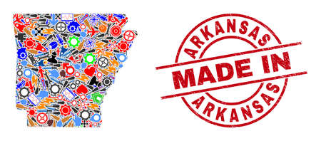 Industrial Arkansas State map mosaic and MADE IN distress stamp seal. Arkansas State map collage formed with wrenches, gearwheels, tools, elements, transports, electric strikes, helmets.
