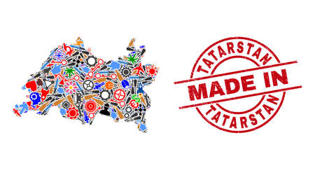 Education Tatarstan map mosaic and MADE IN grunge seal. Tatarstan map mosaic formed with wrenches, gearwheels, instruments, aviation symbols, transports, electricity strikes, details. Illusztráció