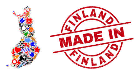 Science Finland map mosaic and MADE IN scratched stamp seal. Finland map mosaic formed with spanners, wheels, instruments, aviation symbols, vehicles, electric strikes, rockets.