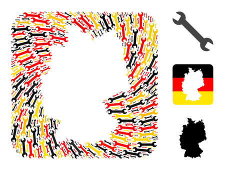 German state map hole mosaic. Hole rounded rectangle collage composed with wrench icons in various sizes, and Germany flag official colors - red, yellow, black.