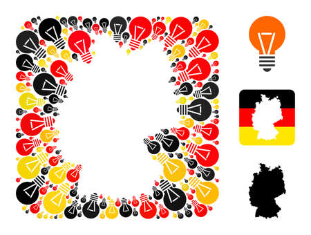 German map stencil mosaic. Stencil rounded square collage composed with electric bulb elements in variable sizes, and Germany flag official colors - red, yellow, black.
