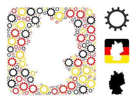 Germany state map stencil mosaic. Stencil rounded rectangle collage formed from gear items in different sizes, and German flag official colors - red, yellow, black.